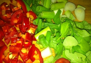 chopped chilli, spring onions, basil and mint