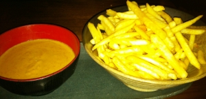 chilli fries and satay sauce